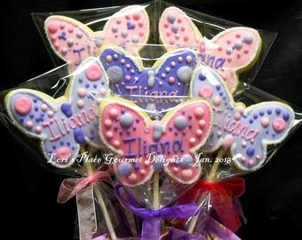 Butterfly Cookie Pops - 12 Cookie Pops