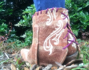Brown Corral Boots with White & Purple details: Size 8