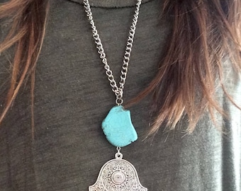 Hamsa Hand Necklace with Turquoise