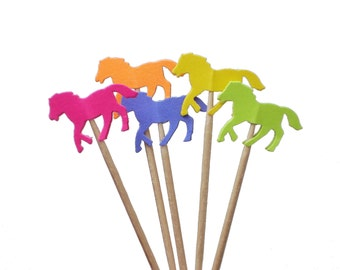 24 Bright Horse Party Picks, Cupcake Toppers, Food Picks, Toothpicks, Drink Picks - No1014