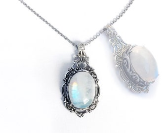 Moonstone Necklace silver Gothic Necklace Gothic Jewelry victorian Silver Necklace boho jewelry gothic clothing victorian