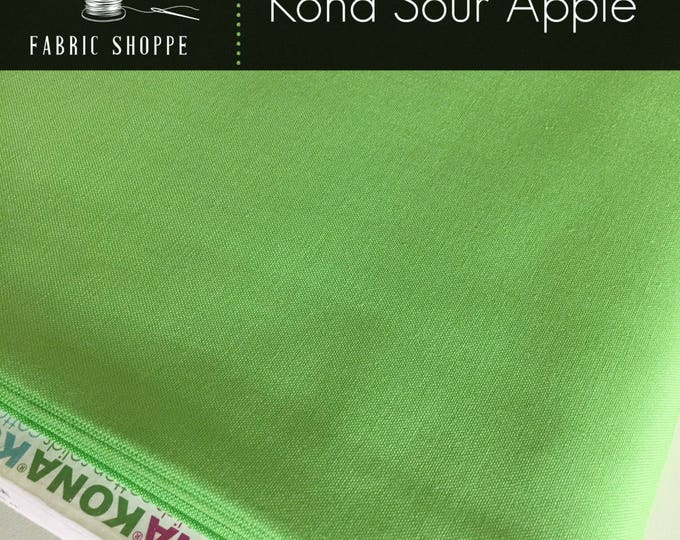 Kona cotton solid quilt fabric, Kona SOUR APPLE 144, Kona fabric, Solid fabric Yardage, Kaufman, Green fabric, Choose the cut