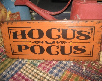 """Primitive  Holiday Wooden Hand Painted Halloween Salem Witch Sign -  """" Hocus Pocus """"  Country  Rustic Folkart"""