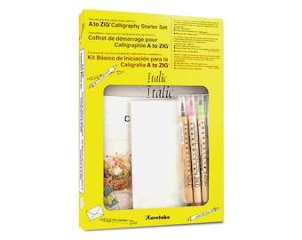 Kuretake Calligraphy Starter Kit, Italic Box Set - Calligraphy Book, Calligraphy Copybook, Calligraphy Beginner Kit, Brush Lettering Kit
