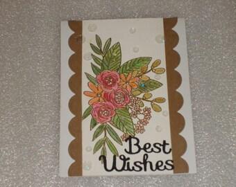 Handmade Fancy Best Wishes Floral Wedding Card, Anniversary, Retirement, Engagement, Birthday Card