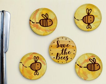 Save The Bees Glass Magnets - Honey Bee, Bring Back the Bees, Colony, Bee Hive, Beehive, Flower, Queen Bee, Father's Day Gift, Gift for Dad