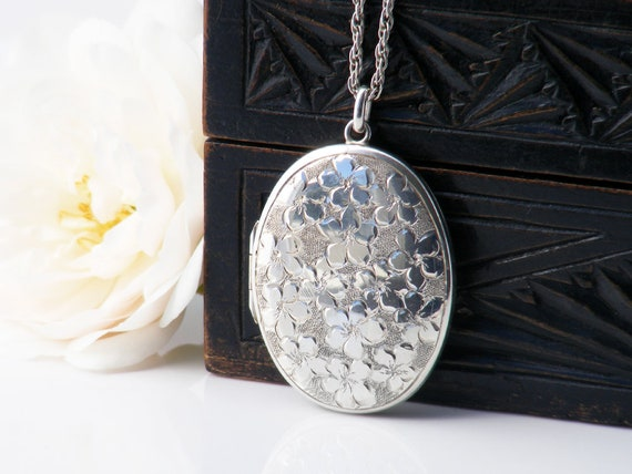 English Sterling Silver Vintage Locket | Engraved Oval Locket Necklace with Forget-Me-Not Flowers | 1973 Hallmarks - 20 Inch Long Chain