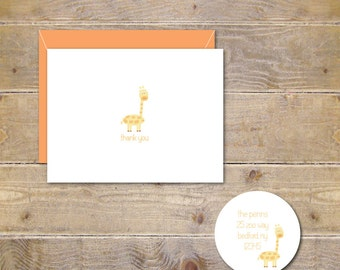 Baby Thank Yous, Baby Thank You Cards . Baby Shower Thank You Cards . Baby Shower Thank You Notes . Gender Neutral - Happy Giraffe