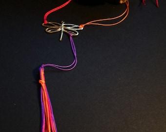 dragonfly necklace, long tassel necklace, boho long necklace, colorful tassel, layering jewelry, orange necklace, red tassel, purple tassel