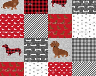 Wiener Dogs Red Black Gray Crib Toddler Twin Full Queen Size Comforter MADE TO ORDER