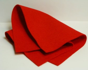 "Bright Red 35% Merino Wool Felt Blend Fabric from woolhearts Single Sheet Size 9"" x 12"""