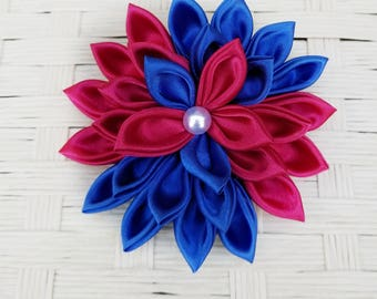 Kanzashi Flower - Red White and Blue Hair Clip - Red Hair Flower - Blue Hair Flower - Red Hair Clip - Blue Hair Clip - Hair Flower