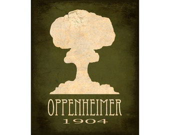 11x14 Science Art Print Oppenheimer Atomic Bomb Mushroom Cloud Explosion Steampunk Rock Star Scientist Geek Nerd Decor Scientific Poster