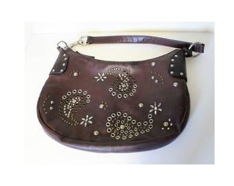 Boho Hippie Purse Handbag Grommets Studs Paisley Pattern Over Faux Leather