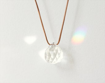 "crystal talisman necklace // leather cord // healing ""PRISM II"""