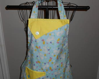 Bunnies and Chicks on Blue Plaid Women's Apron