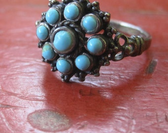 Vintage Ornate Sterling Silver Turquoise Ring Size  7.5