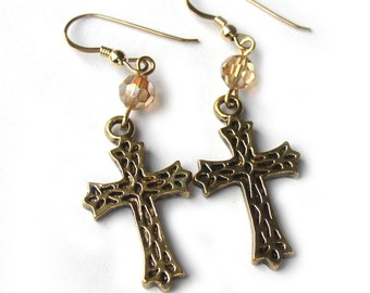 Gold Plated Cross Earrings Swarovski Crystal for Women