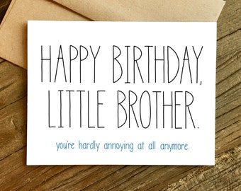 Funny Birthday Card - Birthday Card for Brother - Brother Birthday Card - Little Brother.