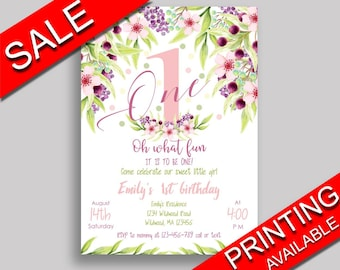 First Birthday Invitation First Birthday Party Invitation First Birthday Party First Invitation Girl floral pink green KAF9O