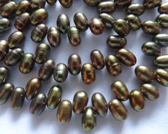 "16"" Strand Freshwater Pearls Potato Top Drilled Green Brown 6 to 8mm Long #76"