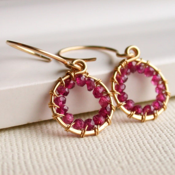 January Birthstone Earrings. Petite Wire Wrapped Garnet Hoop Earrings. Gemstone Hoop Earrings. Garnet Wire Wrapped.