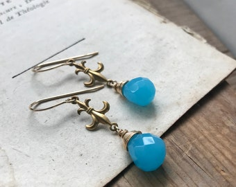 Gold Fleur de Lis Earrings With Aqua Crystal French Jewelry Charm Jewelry Gold Earrings Mardi Gras Weddings Bridesmaid Jewelry Gifts Under 3