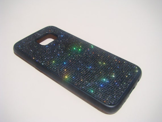Galaxy S7 Edge Case Black Diamond Crystals on Black Rubber Case. Velvet/Silk Pouch Bag Included, Genuine Rangsee Crystal Cases.