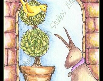 Topiary Illustration,  ACEO, Bunny, Rabbit, OOAK