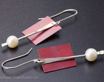 Long Zen Pearl Earrings, sterling silver, copper with pretty red patina, long & elegant