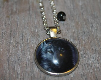 The Black Wolf - glass cabochon necklace