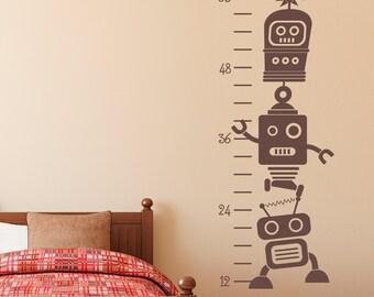 Growth Chart Wall Decal - Robot Wall Decal - Robot Growth Chart Wall Art - Children Wall Decal