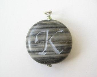 Initial K Jasper pendant stone