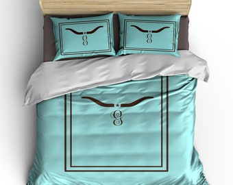 Custom Personalized Longhorn Antler Bedding Set -Available Twin-TWXL-Queen- King  size - shown Chocolate Brown on Robins Egg Blue