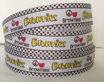 5 YDS Brownies Ribbon - Love - Peace - Girl Scouts