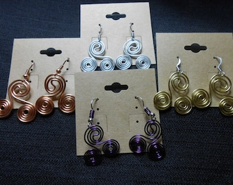Copper Triskelion Earrings - EMF Protection - Anion Emitting - Choose Your Color