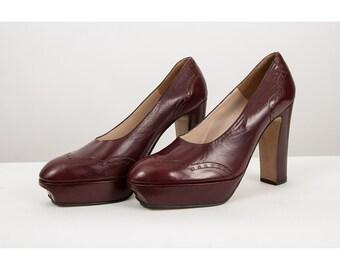 Platform shoes / Vintage sky high MIGNANI wing tip spectator platform heels / Ox blood leather 9 10