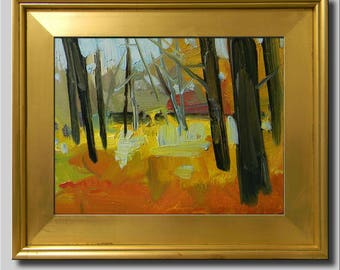 Tree Landscape, Impressionist Oil Painting, Orange Yellow Abstract Painting