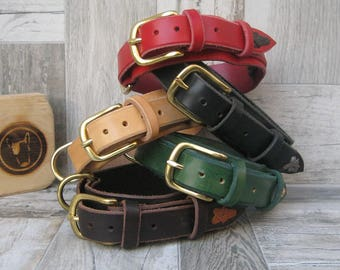 """Colorful Leather Dog Collar, Solid Brass Hardware, 1"""" 1""""1/4 or 2"""" Wide Collar for Medium and Large Dogs, 5 Different Leather Colors"""
