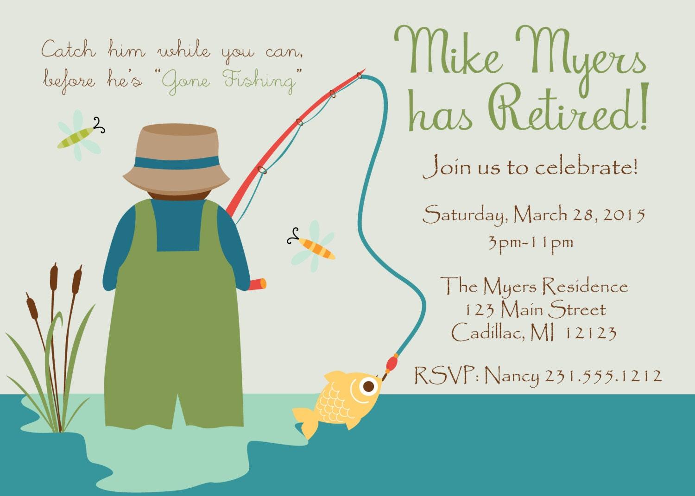 Gone Fishing Retirement Invitation Fun Fishing Theme