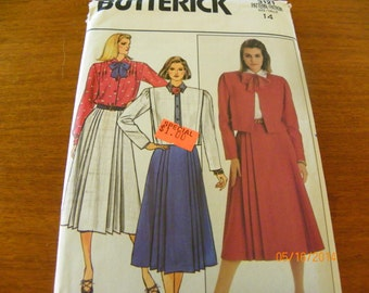 Vintage 1985 Butterick 3121 Sewing Pattern Misses' and Misses Petite Jacket, Skirt, and Blouse, Size 14
