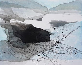 """Extra Large Black and White Abstract Art, Landscape Painting, original fine art -- """"Misted Valley"""", expressive neutral abstract art"""