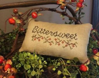 Primitive Fall Pillow Tuck | Pin Keep | Primitive Pillow | Bittersweet | Primitive Fall Autumn Decor | Primitive Decor | Stitchery Sampler |
