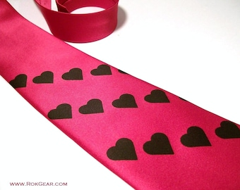 RokGear Neckties - Mens Red necktie. Black Heart Valentine tie