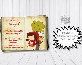 Little Red Riding Hood Invitation, Red Riding Hood birthday, Classic fairytale invitation, Fairytale book invitation, Red riding hood invite