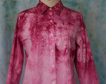 Hand-dyed Ombre Button-down Blouse in Raspberry; Ombre Top; Pink Ombre Top; Pink Ombre Buttondown; Watercolor Blouse