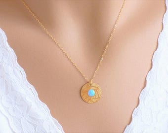 Gold Necklace, Disc Jewelry, Dainty Necklace, Gold filled, Circle Necklace, Gift idea for her, Layering Necklace