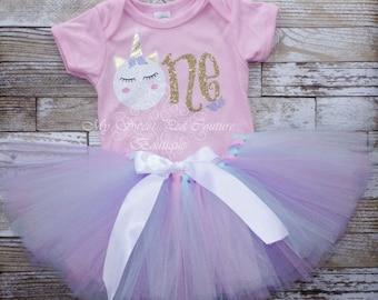 Unicorn First Birthday Tutu Outfit- Cake Smash Outfit- 1st Birthday Outfit- Unicorn Birthday- 1st Birthday- One- Cake Smash Outfit- Unicorn