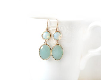 Gold Plated Light Green and Pearl Glass Double Stone Earrings