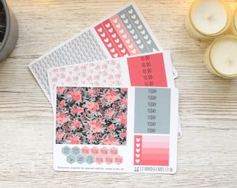 Coral Flower BIG Happy Planner Weekly Kit; Planner Stickers: Weekly Sticker Kit; Winter Weekly Kit; Spring Weekly Kit; Vinyl Matt